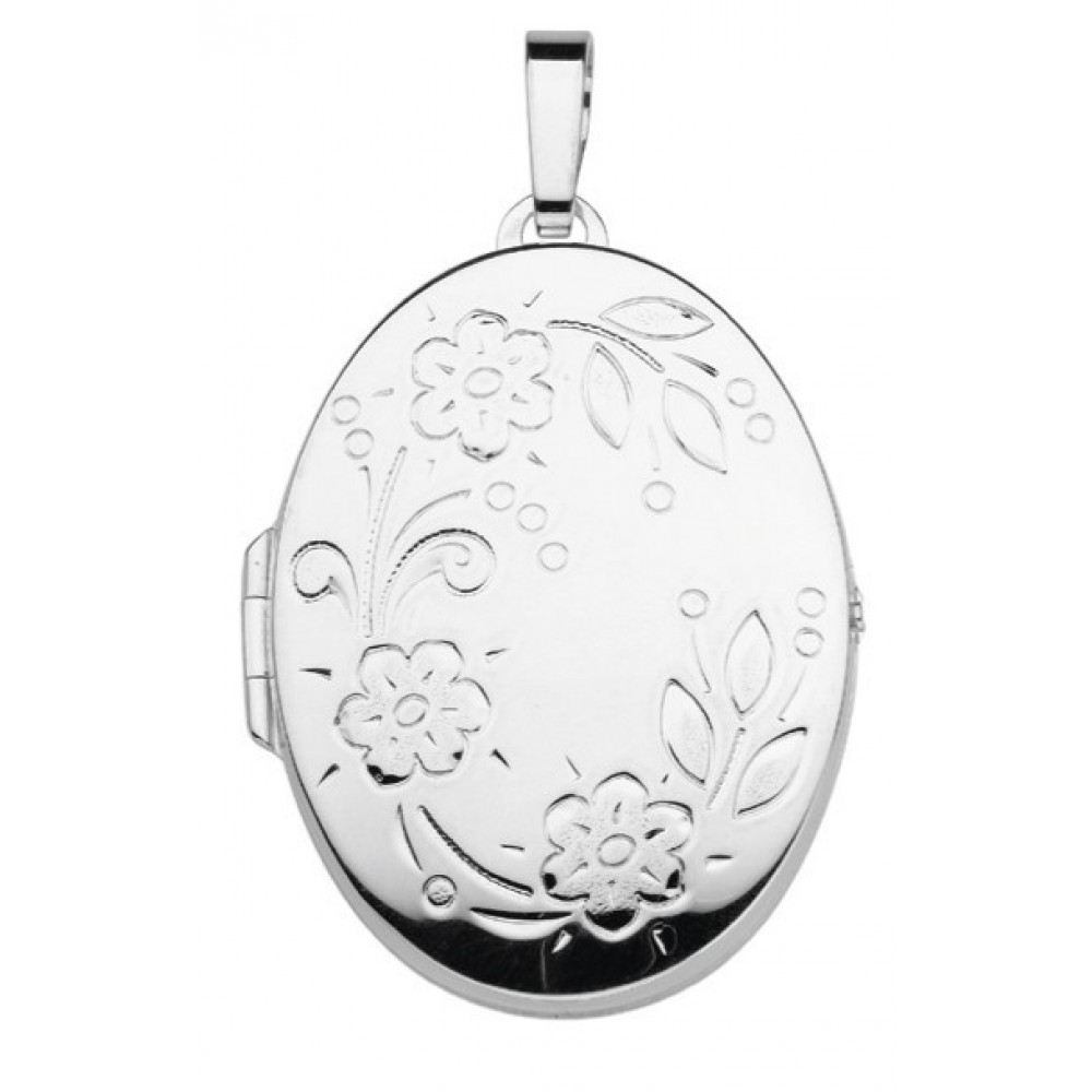 Zilveren dames medaillon hanger 37x28mm 614130007