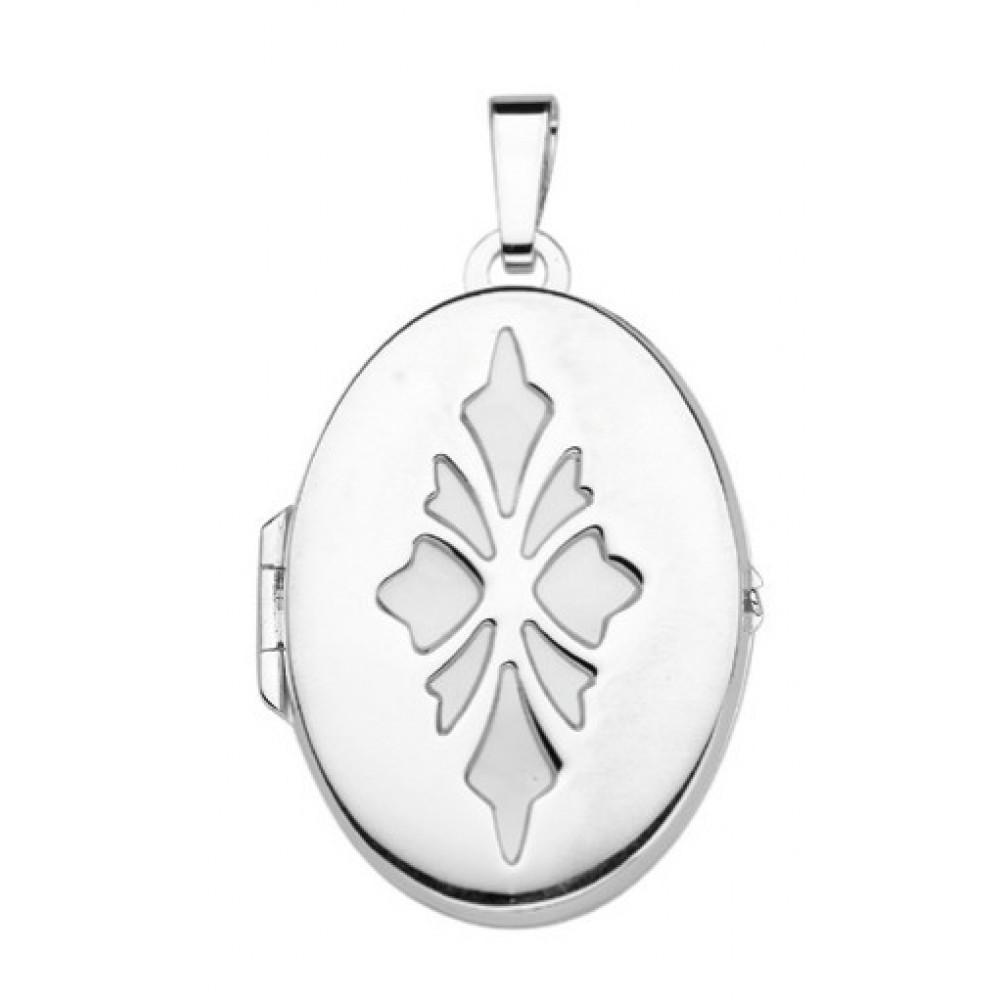 Zilveren dames medaillon hanger 28x20mm 614190001