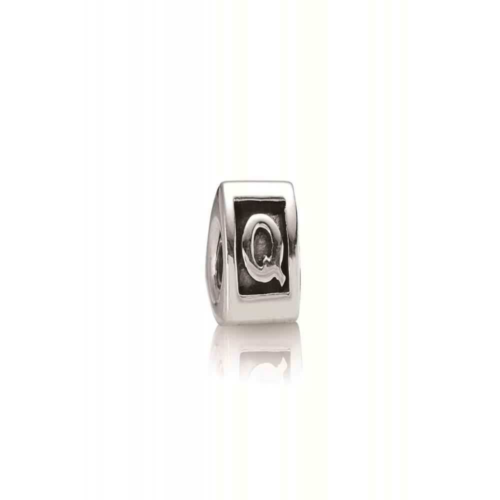 Zilveren bedel letter Q 790323Q