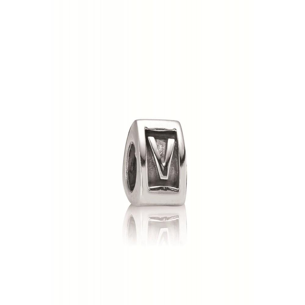 Zilveren bedel letter V 790323V