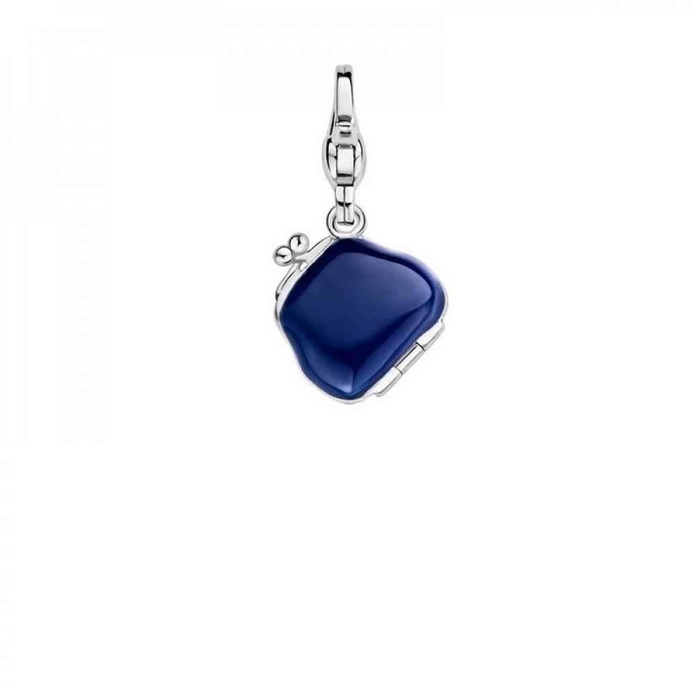 Zilveren bedel blauwe portemonnee 8452DB