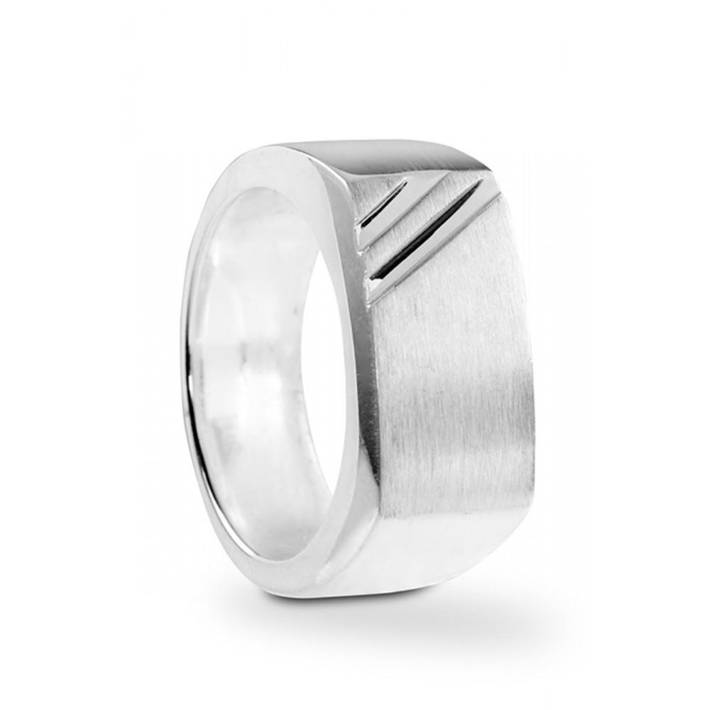 Zilveren cachetring streep 100019111