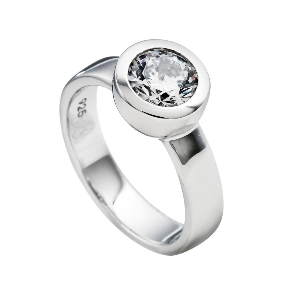 Zilveren damesring Solitair 814.0045