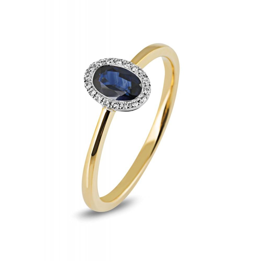 Bicolor ring 0,05crt en ovale saffier 46272R001SA