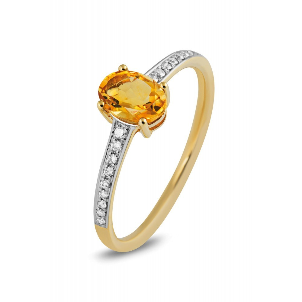 Geelgouden ring 0,10crt en citrien 49760R001CI