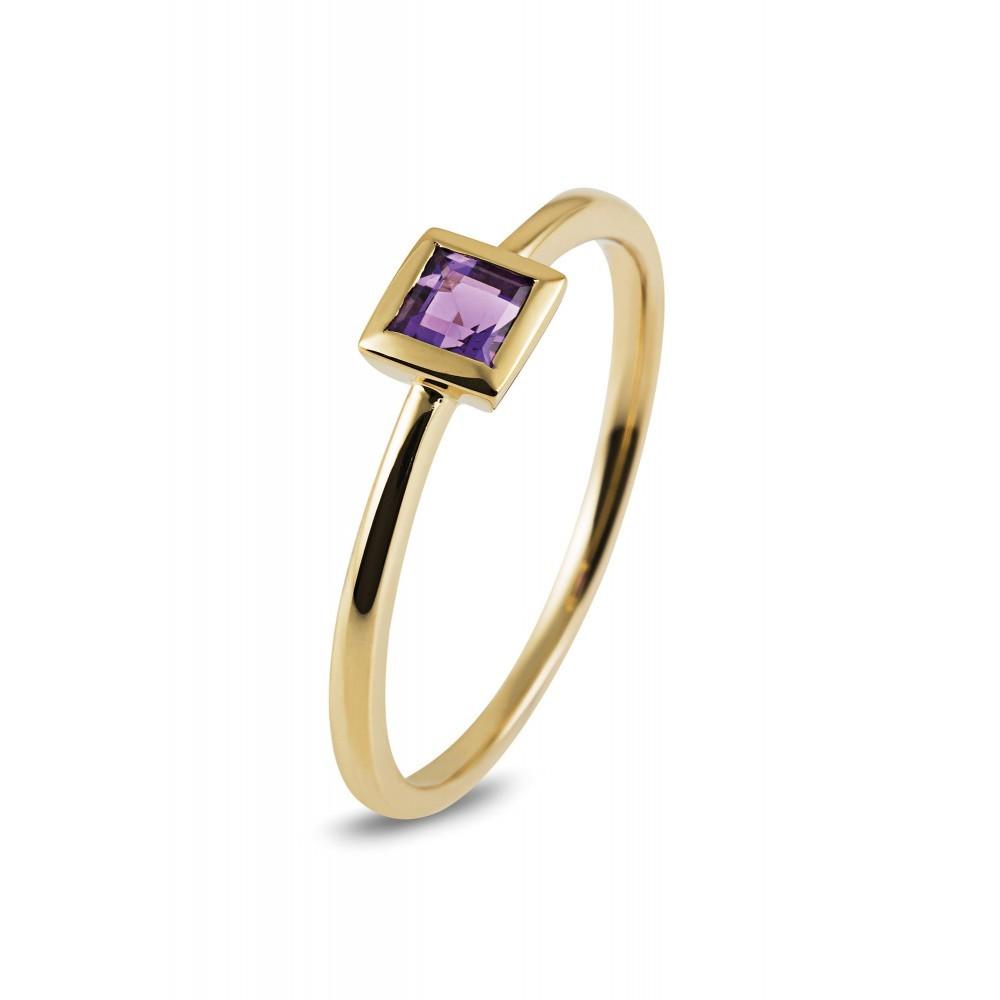 Geelgouden ring met kleursteen R43739R017