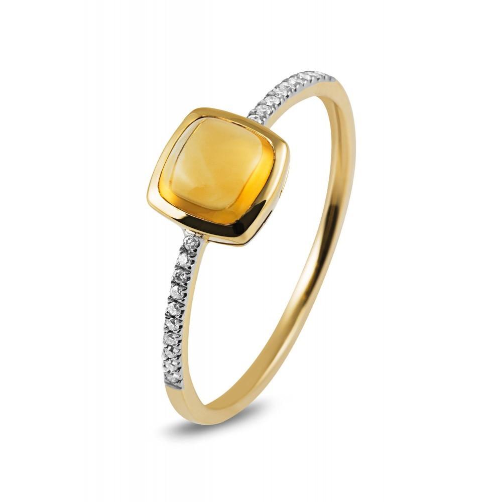 Geelgouden ring met kleursteen R47061R006