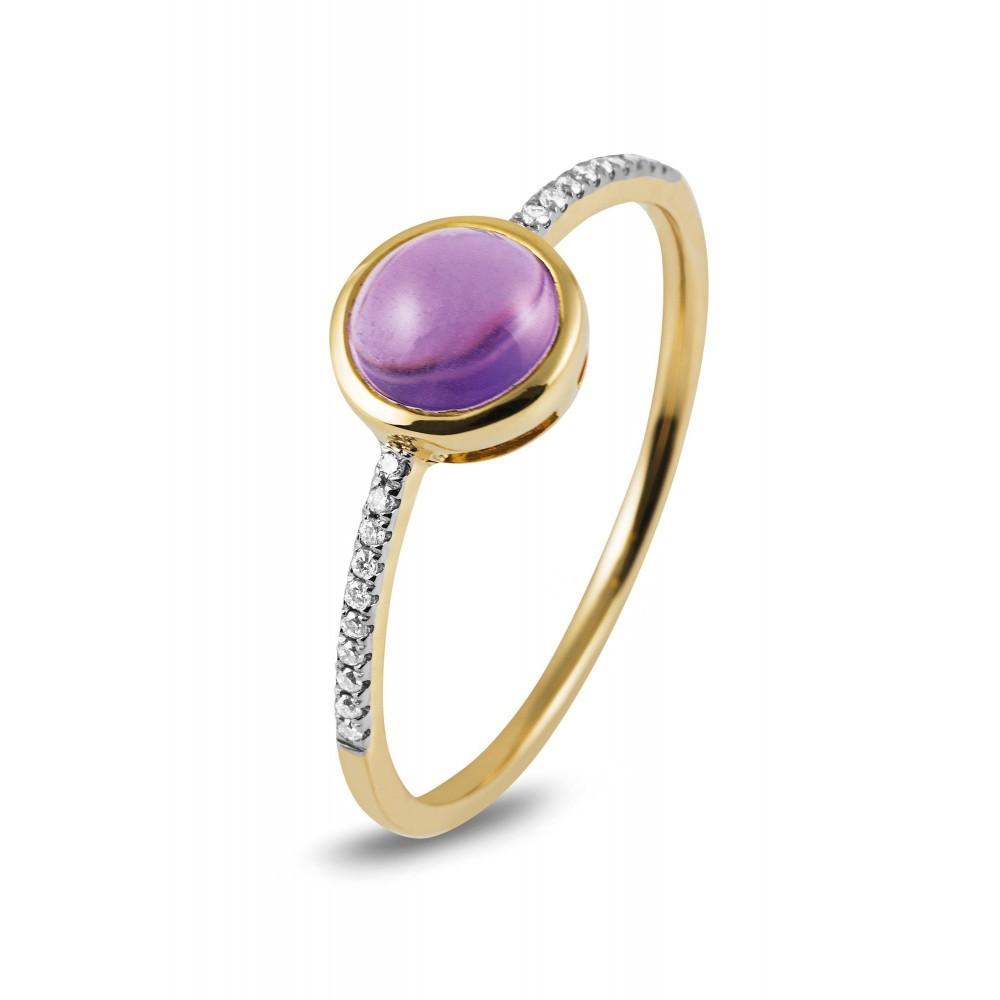 Geelgouden ring met kleursteen R47062R008