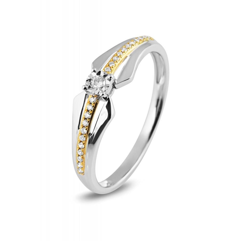 Bicolor ring met 0,04crt middensteen R55894
