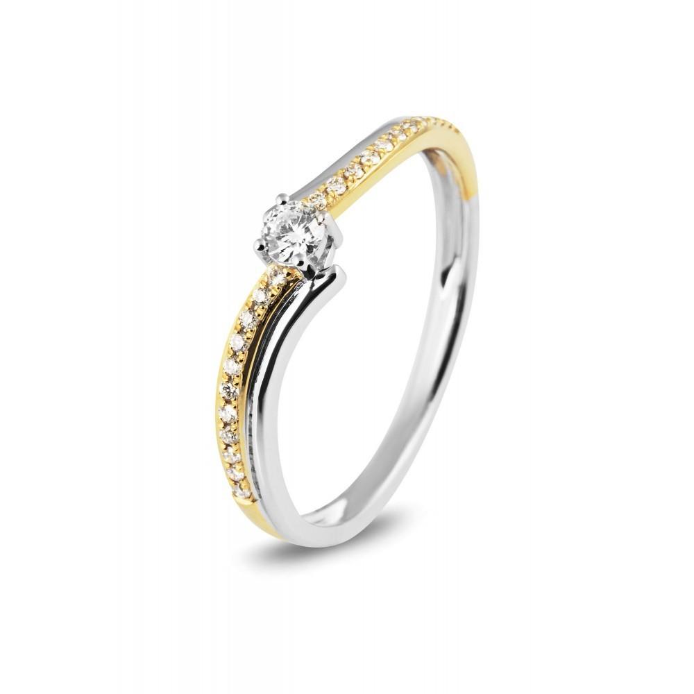 Bicolor ring met 0,08crt middensteen R55899