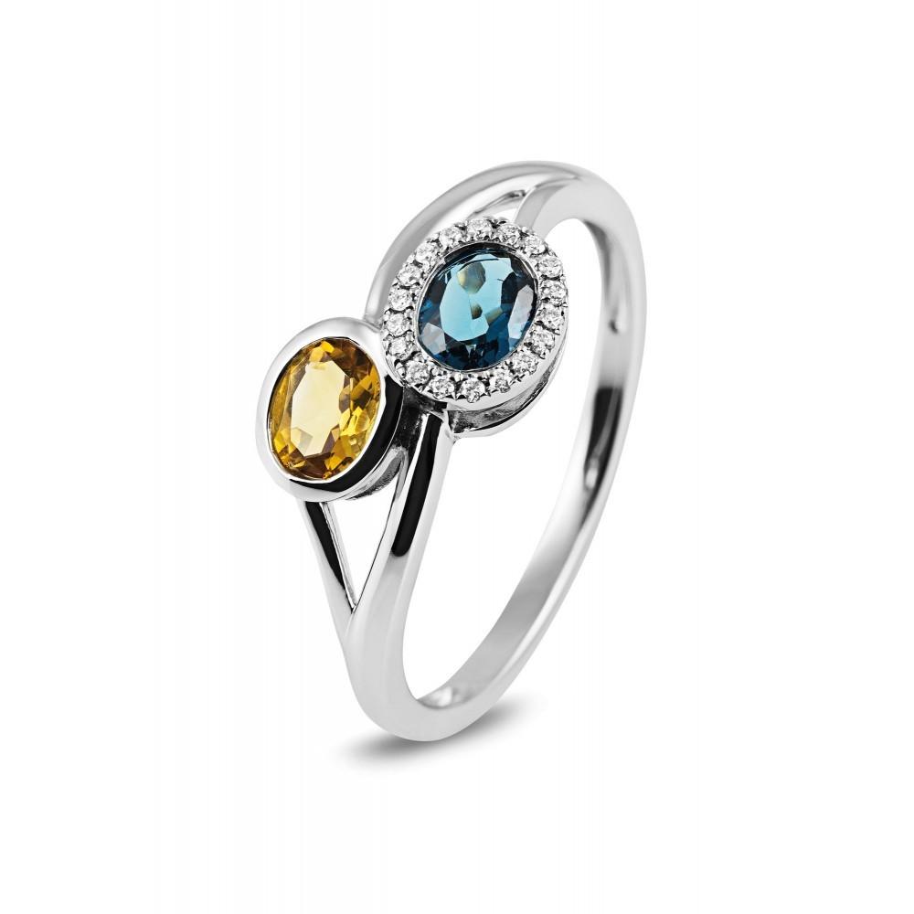 Witgouden ring met kleursteen R57716R001