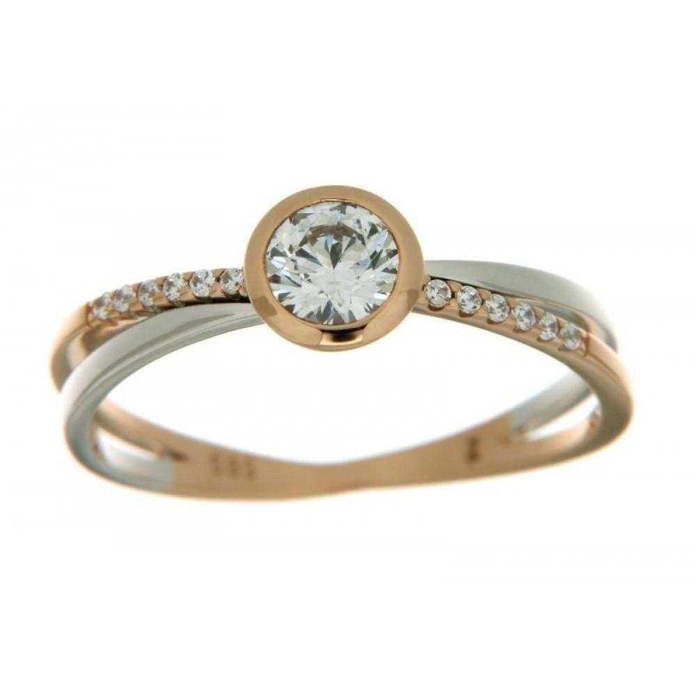 Bicolor gouden ring met zirkonia 593665