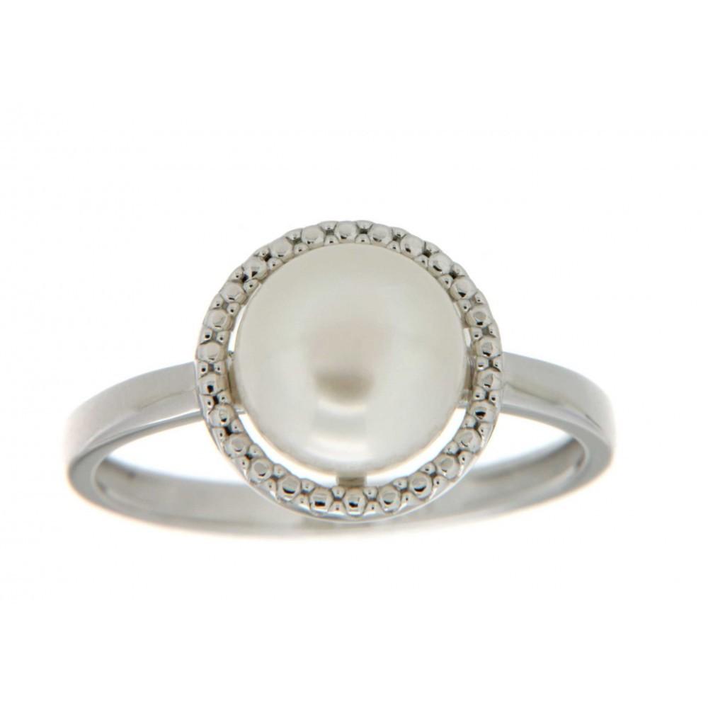 Witgouden ring met parel 613148