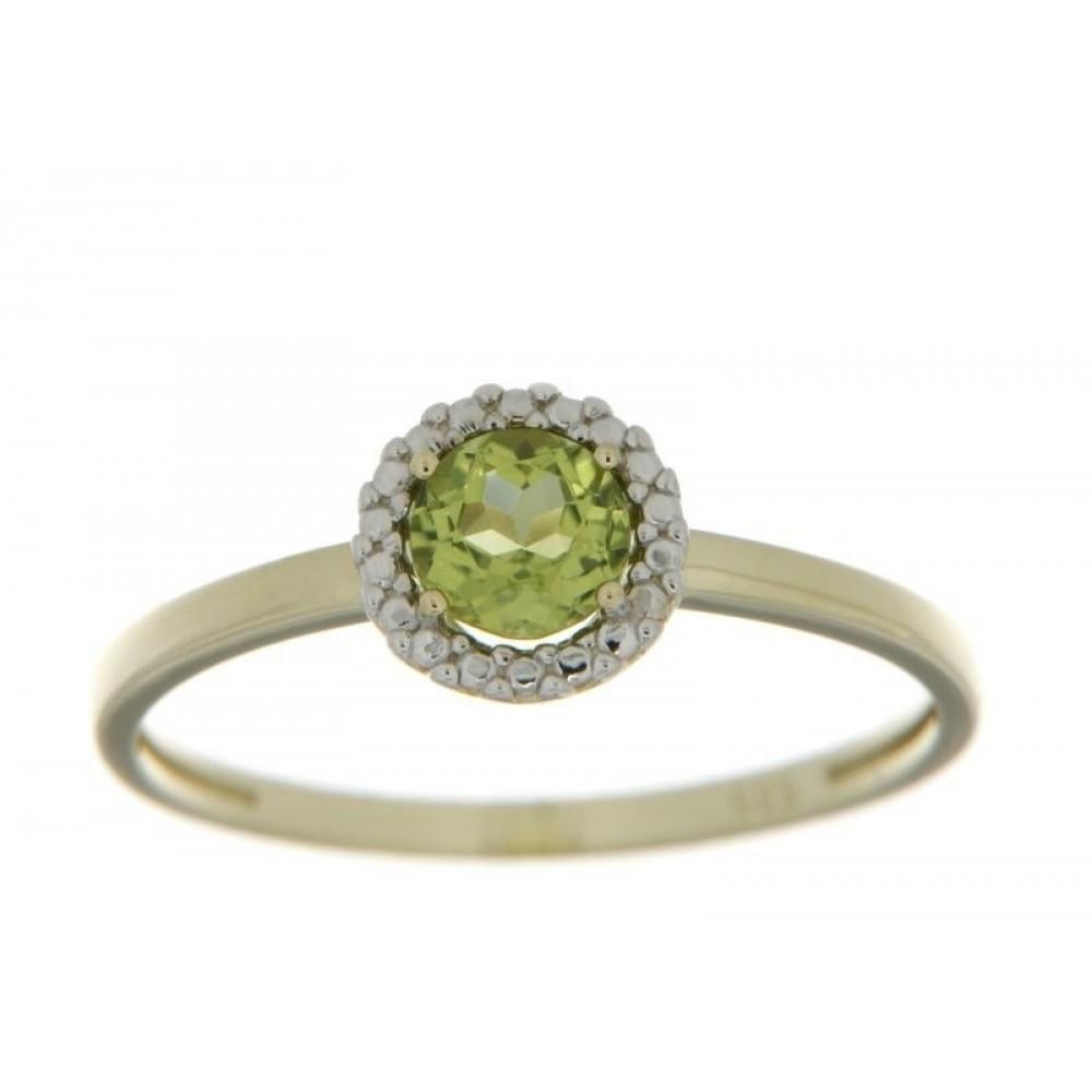 Geelgouden ring met zirkonia en kleursteen 620333