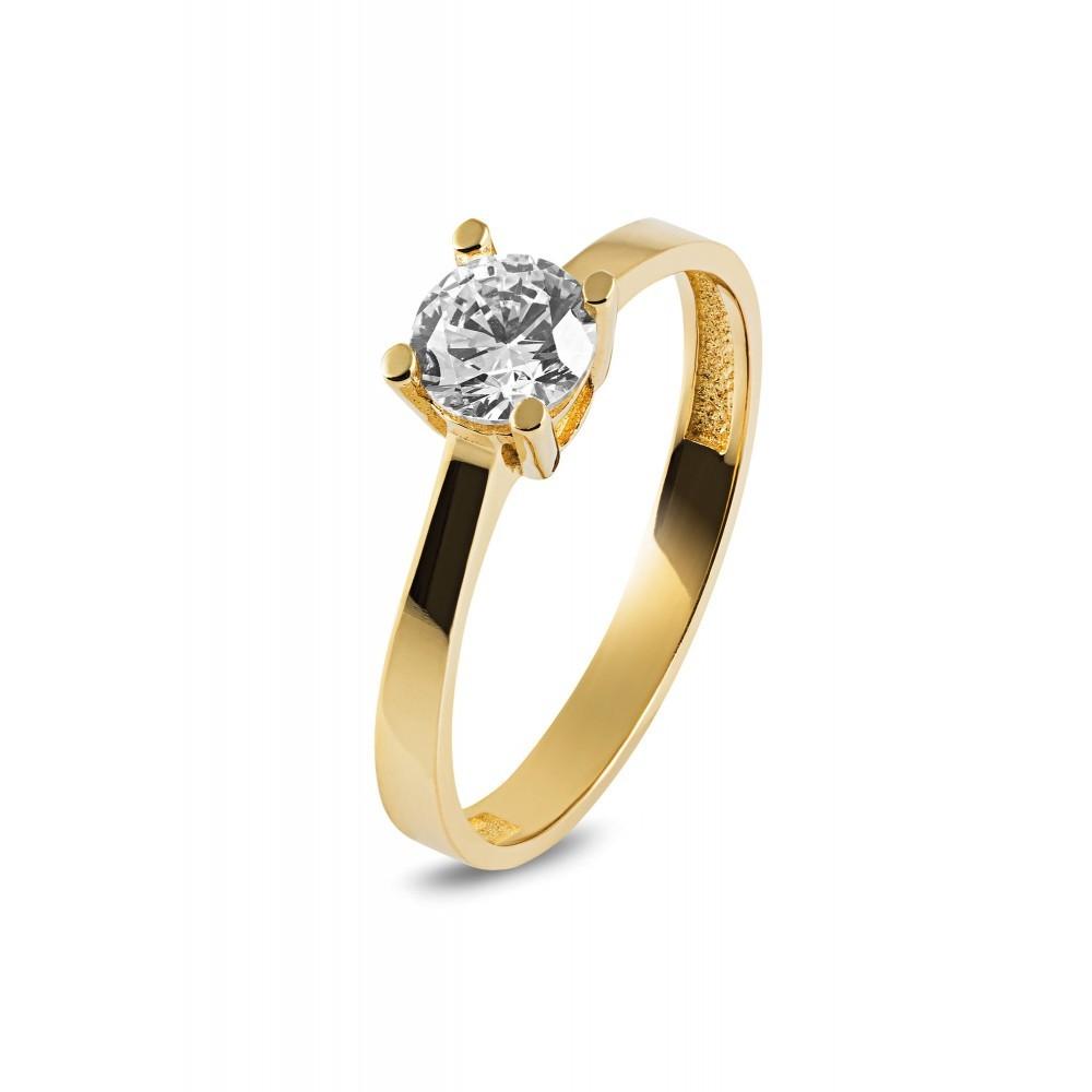 Geelgouden ring met zirkonia RAU0639