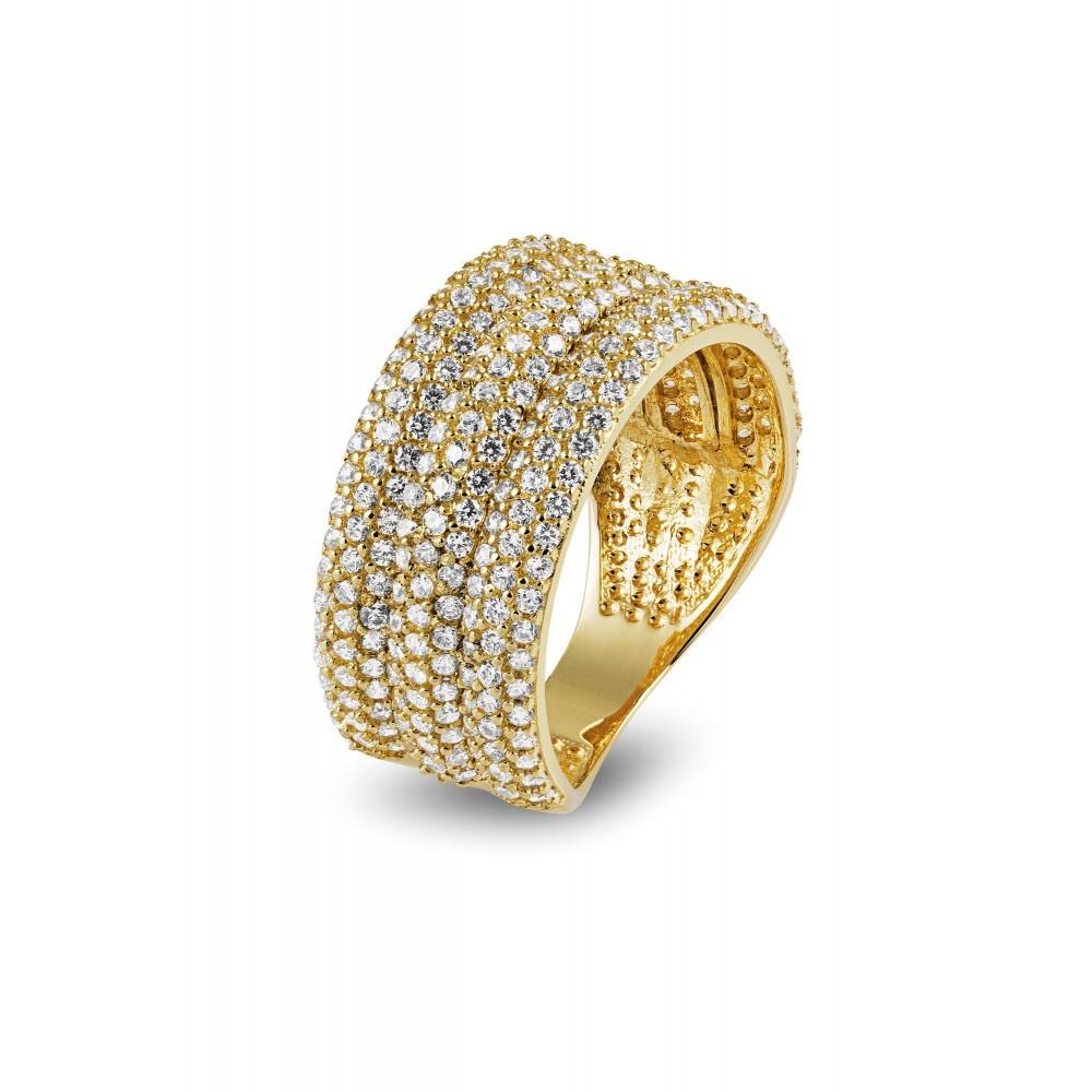 Geelgouden ring met zirkonia RKC0076