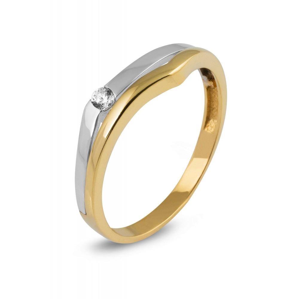 Gouden ring met zirkonia RS667