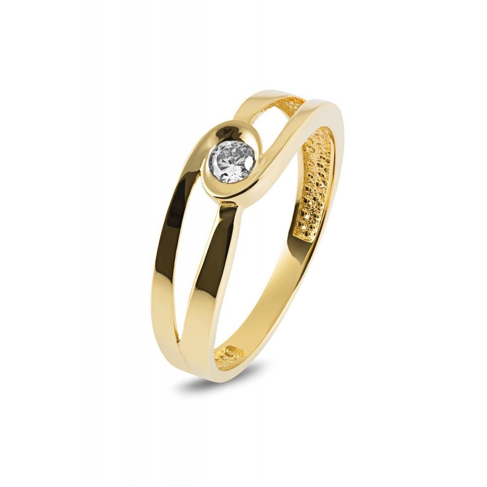 Geelgouden ring met zirkonia RYD0037