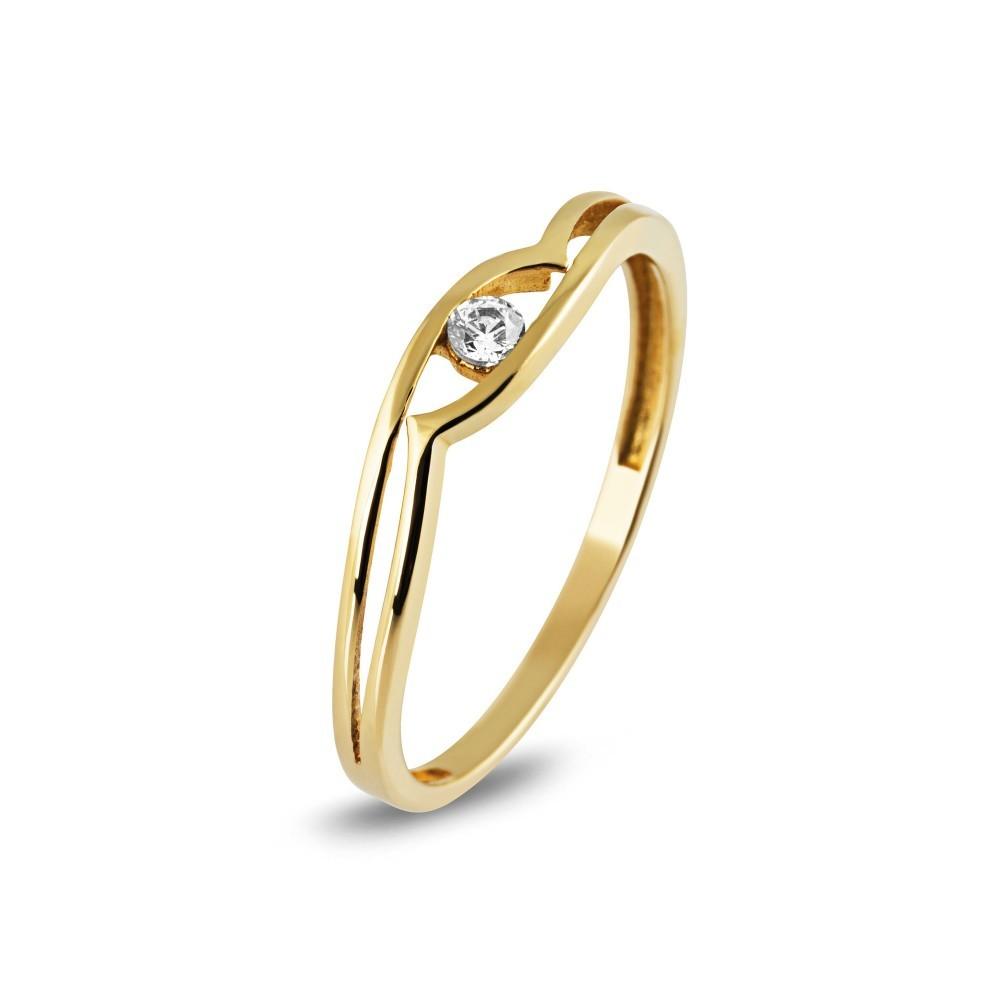 Geelgouden ring met zirkonia TYZ985