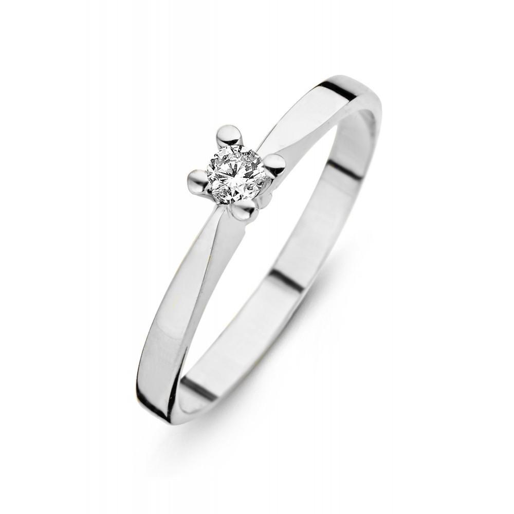 Witgouden ring met diamant SOL-W724-035-G1