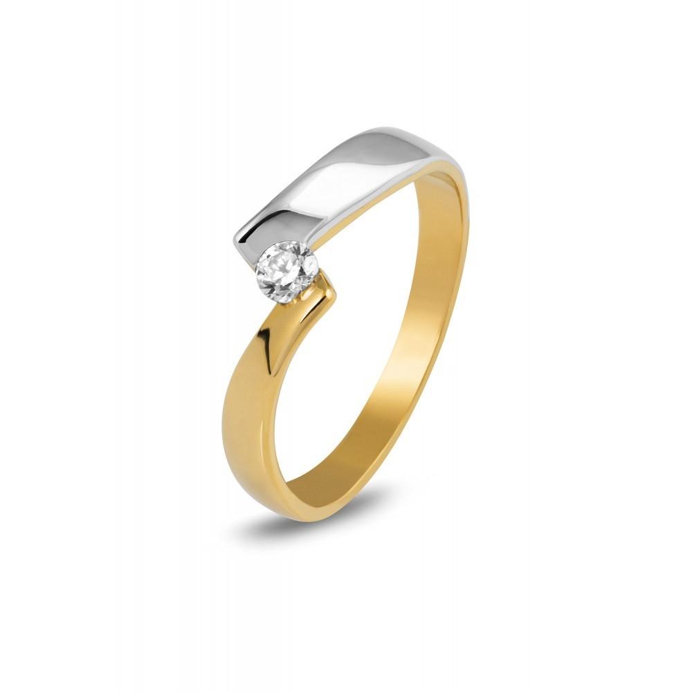 Bicolor gouden ring met zirkonia ICR204628YWFC