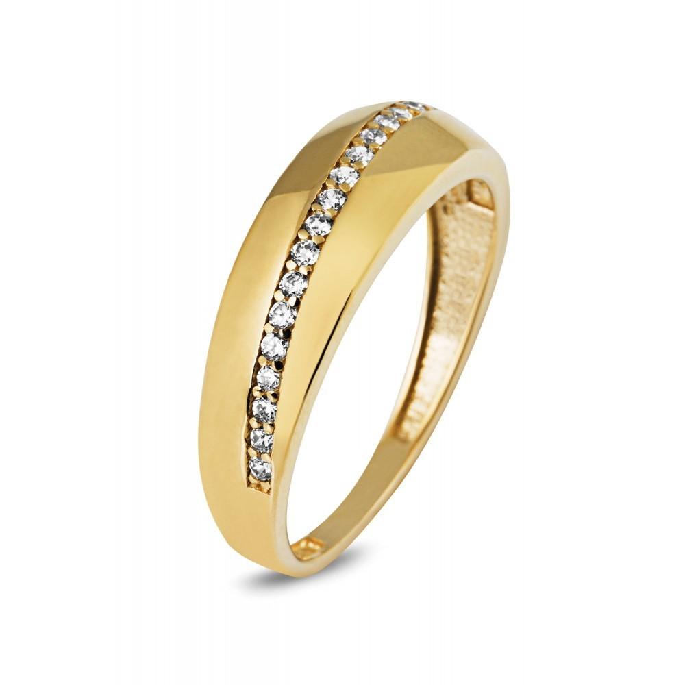Geelgouden ring met zirkonia AYZ176
