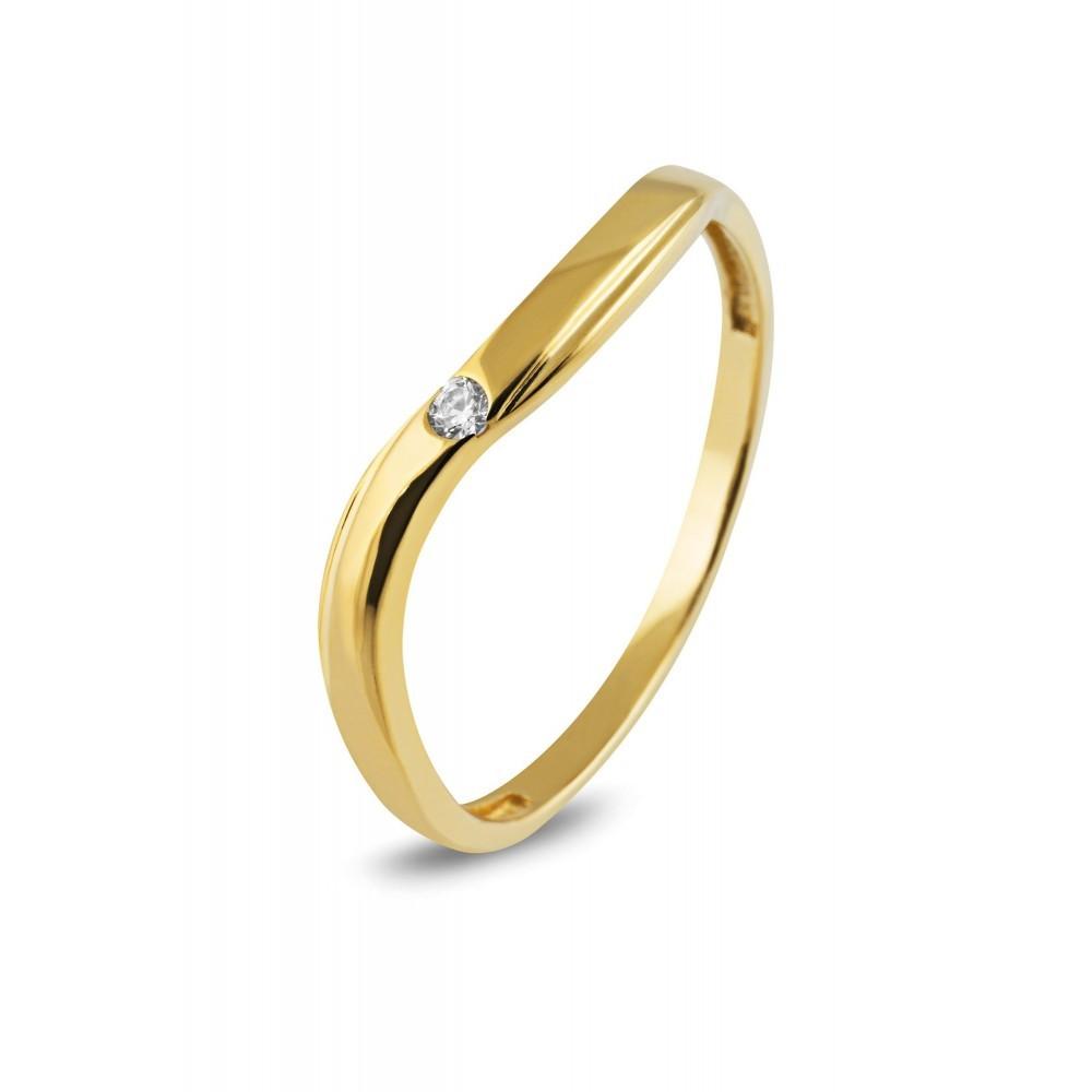 Geelgouden ring met zirkonia TYZ1175