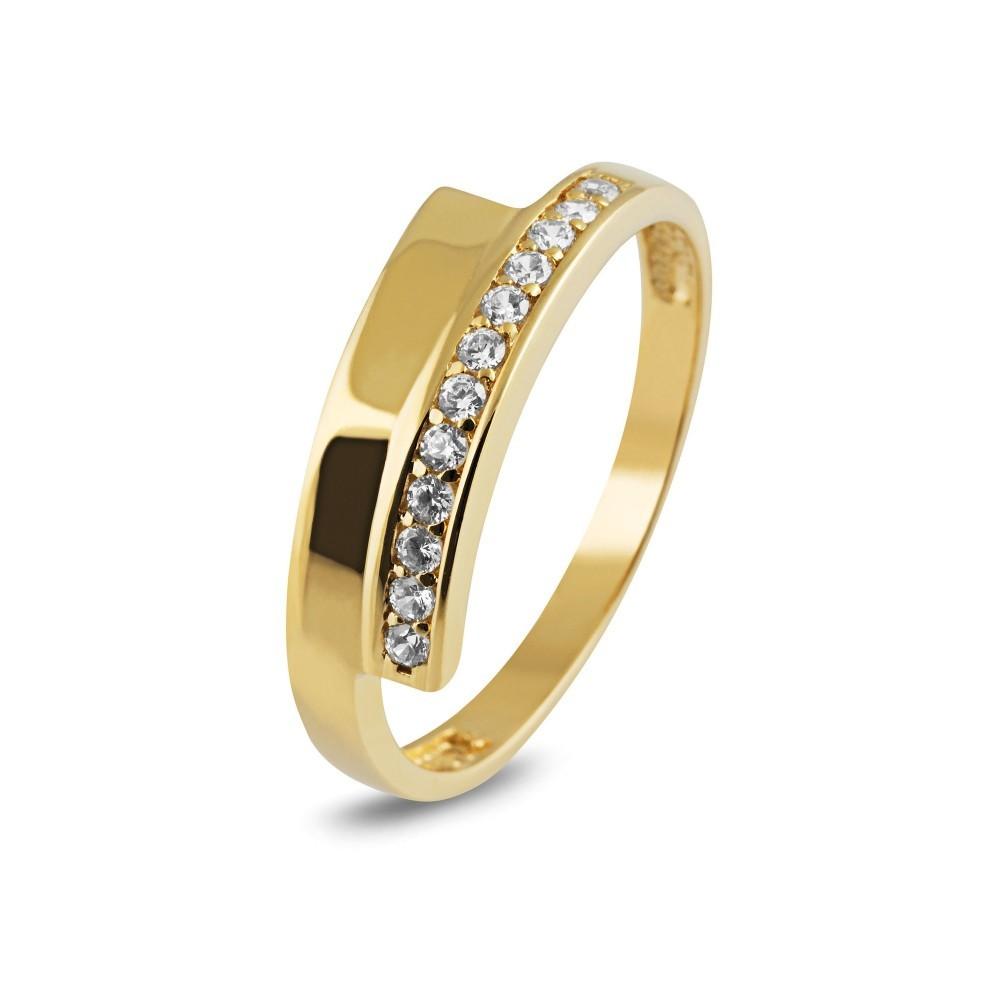 Geelgouden ring met zirkonia TYZ591