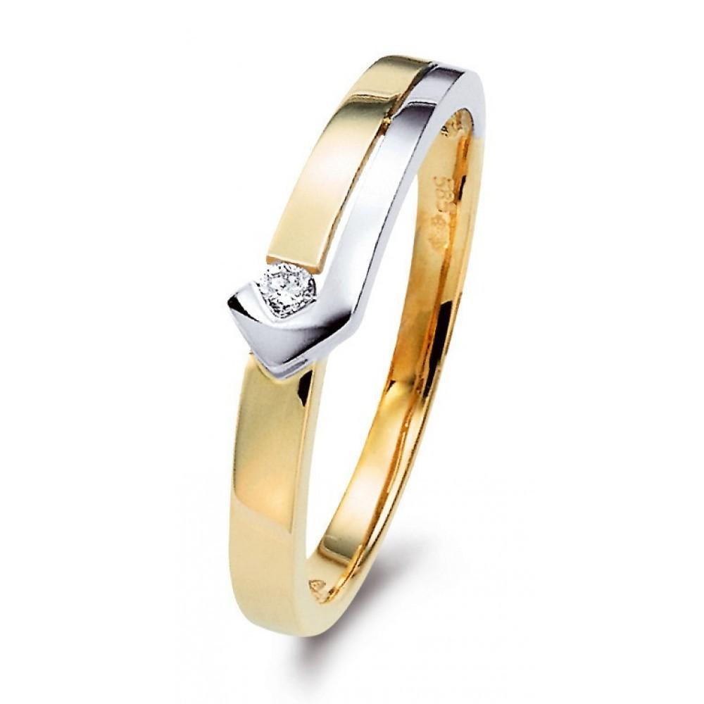 Bicolor ring 0,03crt SOL-M672-005-G2