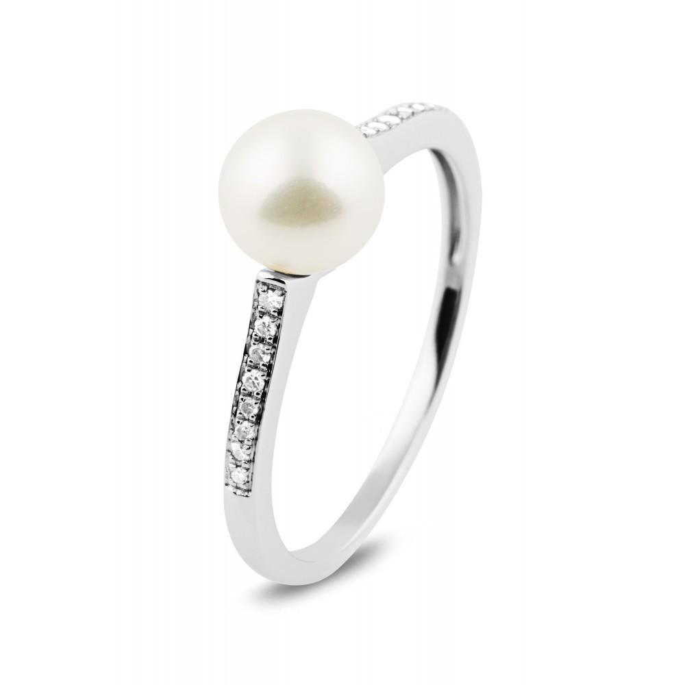 Witgouden ring met parel en diamant 153639AP