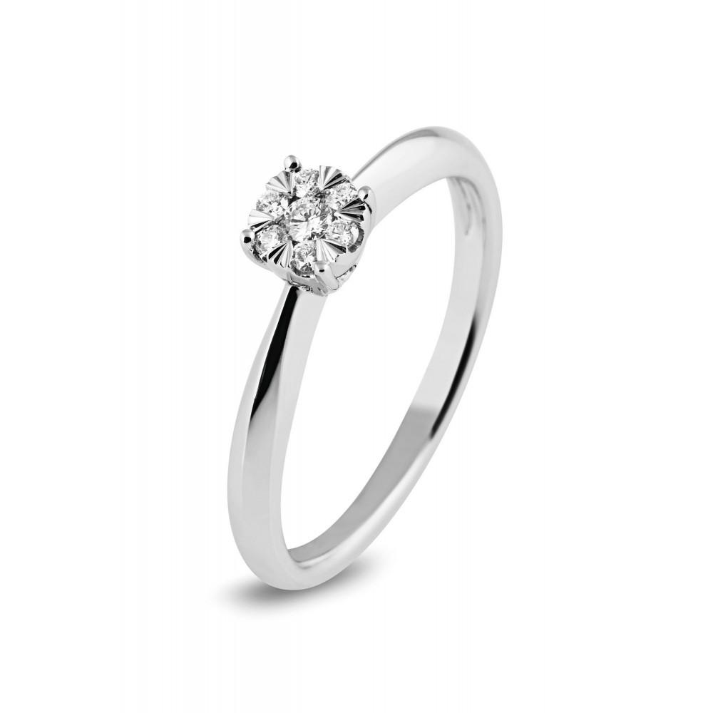 Witgouden damesring met diamant 1851352AD