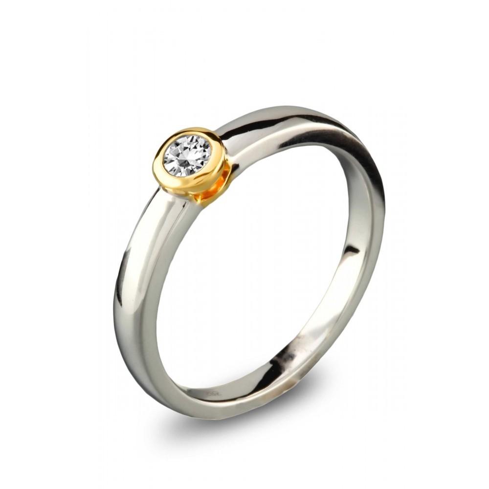 Gouden bicolor ring 0,15crt SOL-M931-015-G2