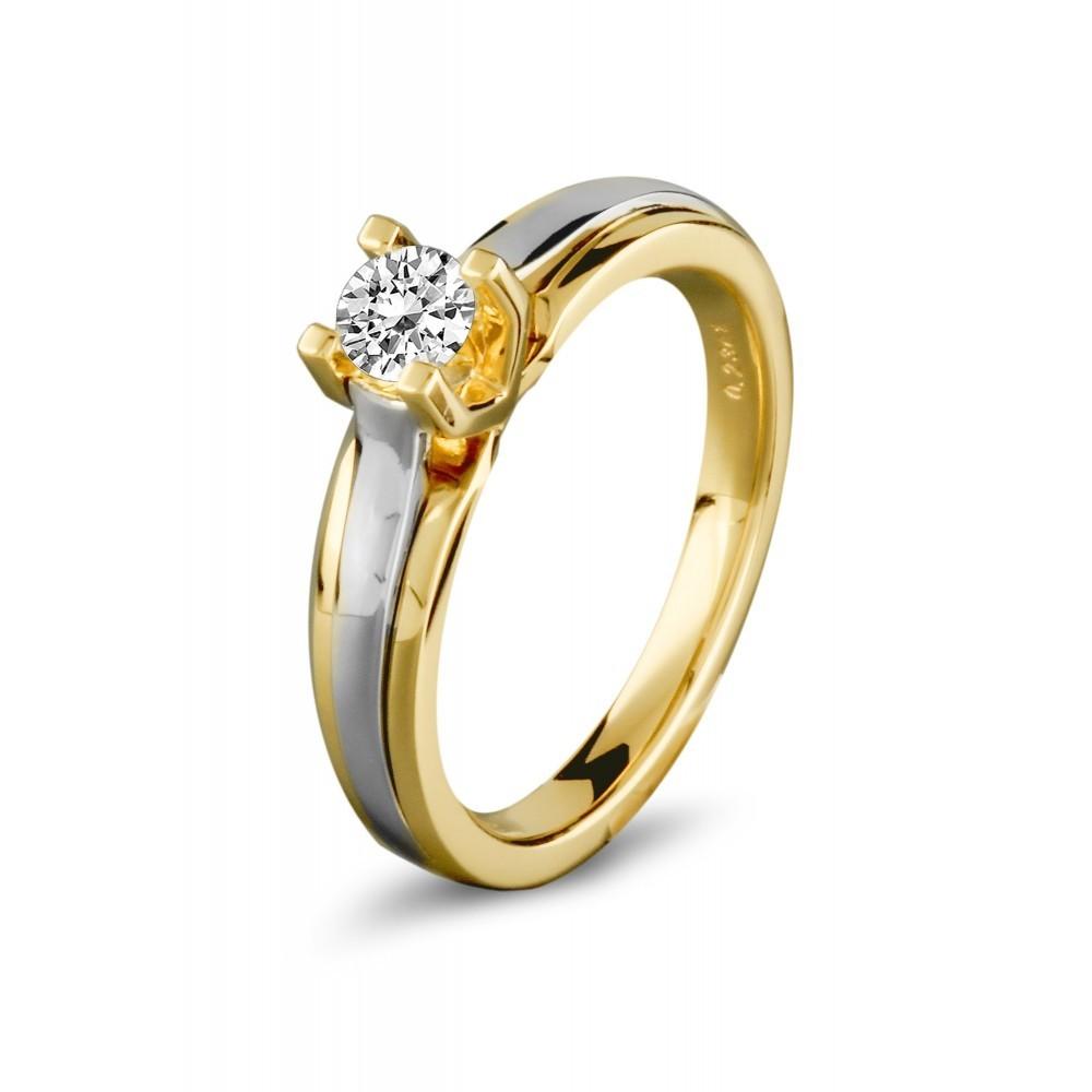 Gouden bicolor ring 0,10crt SOL-M939-010-G2