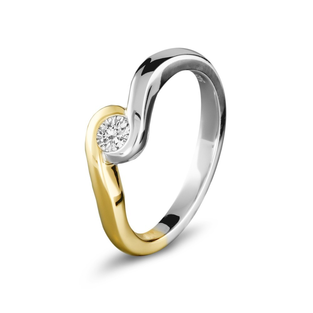 Gouden bicolor ring 0,09crt SOL-M943-010-G2
