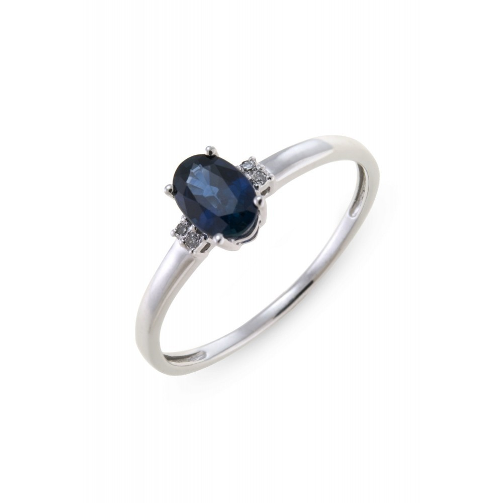 Ring met saffier en diamant R01-BS-004