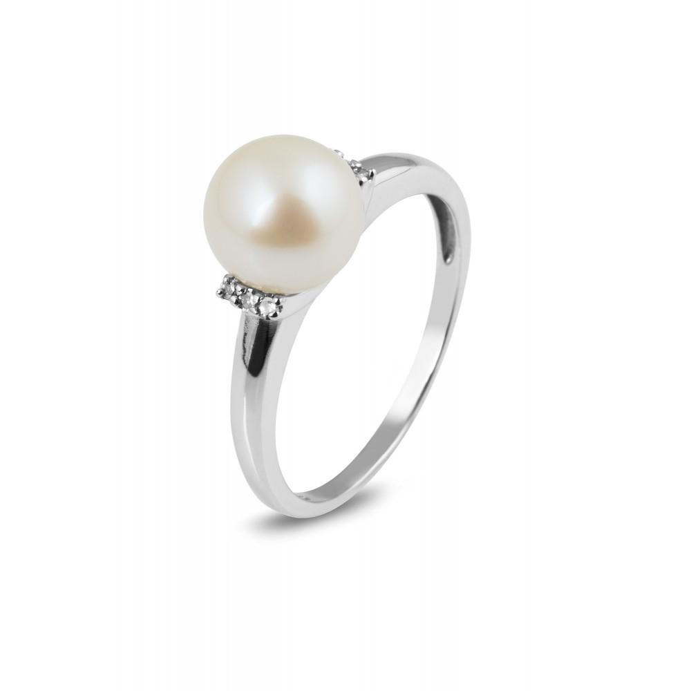 Parel ring met diamant R01-BS-0168-PR