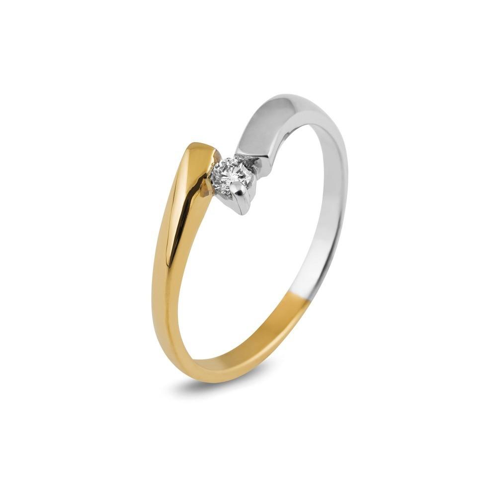 Bicolor ring met diamant SOL-M629-010-G2