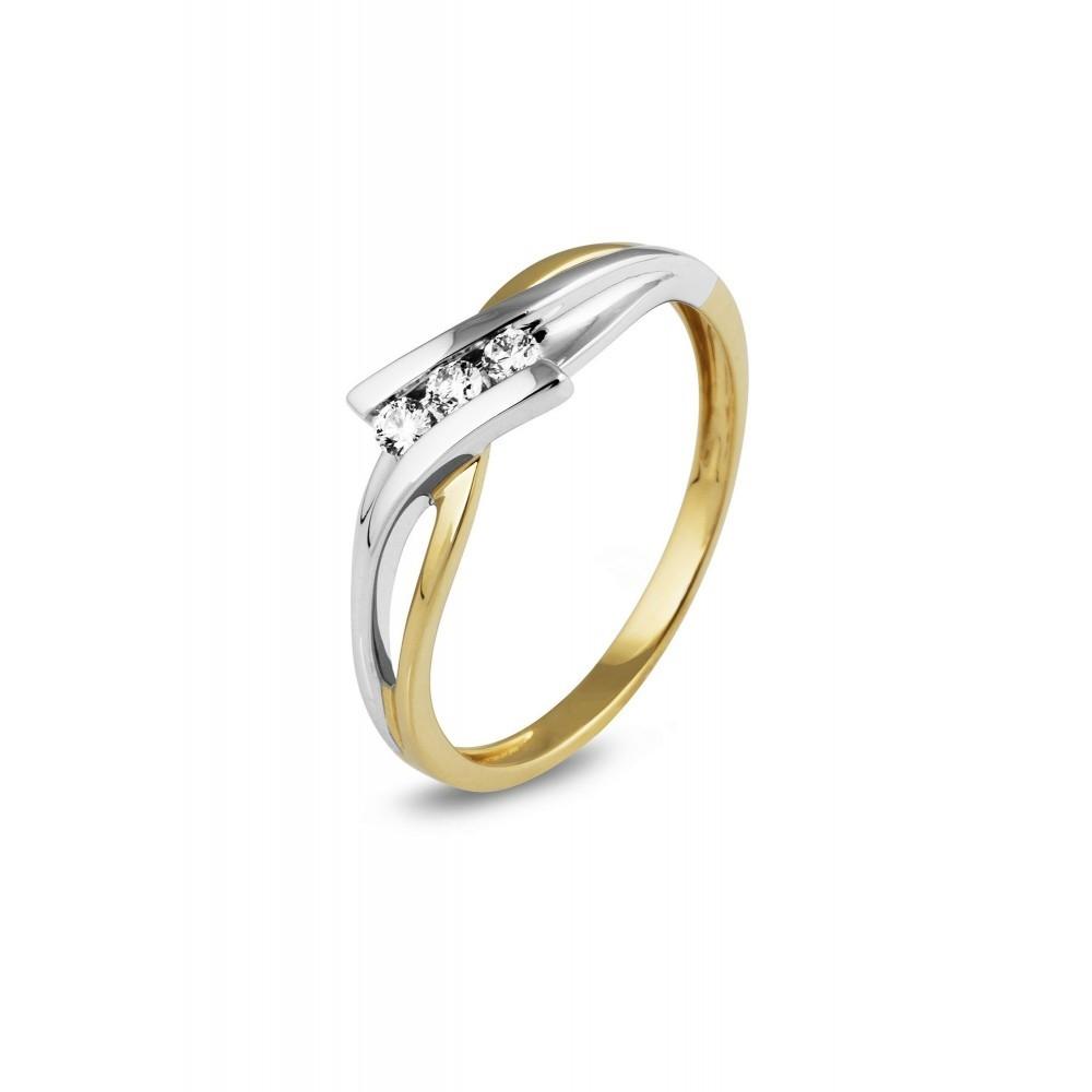 Geelgouden ring met diamant 0,12crt RG24784