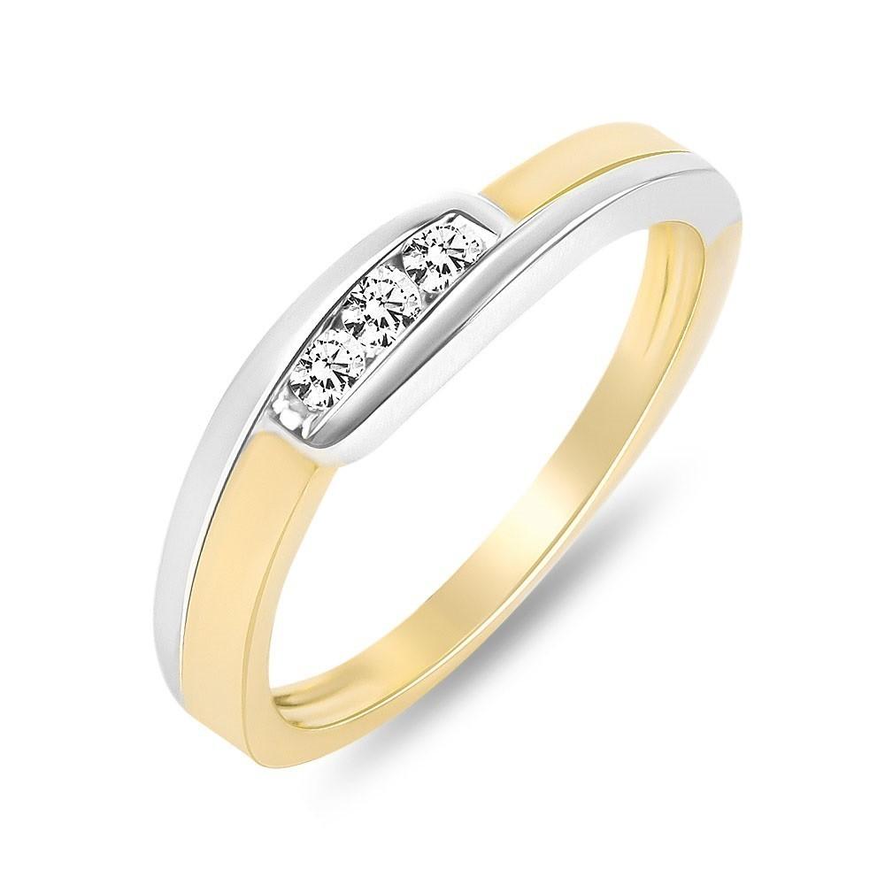 Geelgouden bicolor ring gezet met diamant RG36545