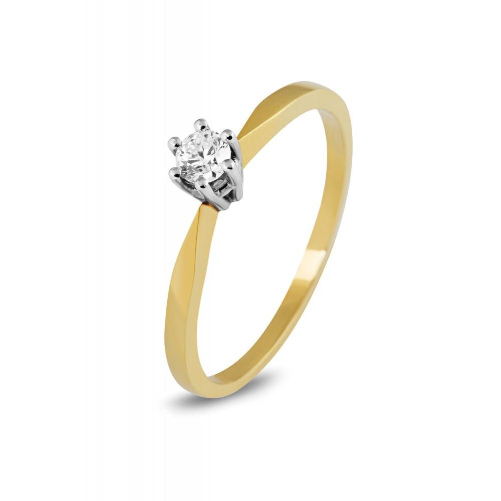 Bicolor solitair ring 0,15crt SOL-M156-015-G2