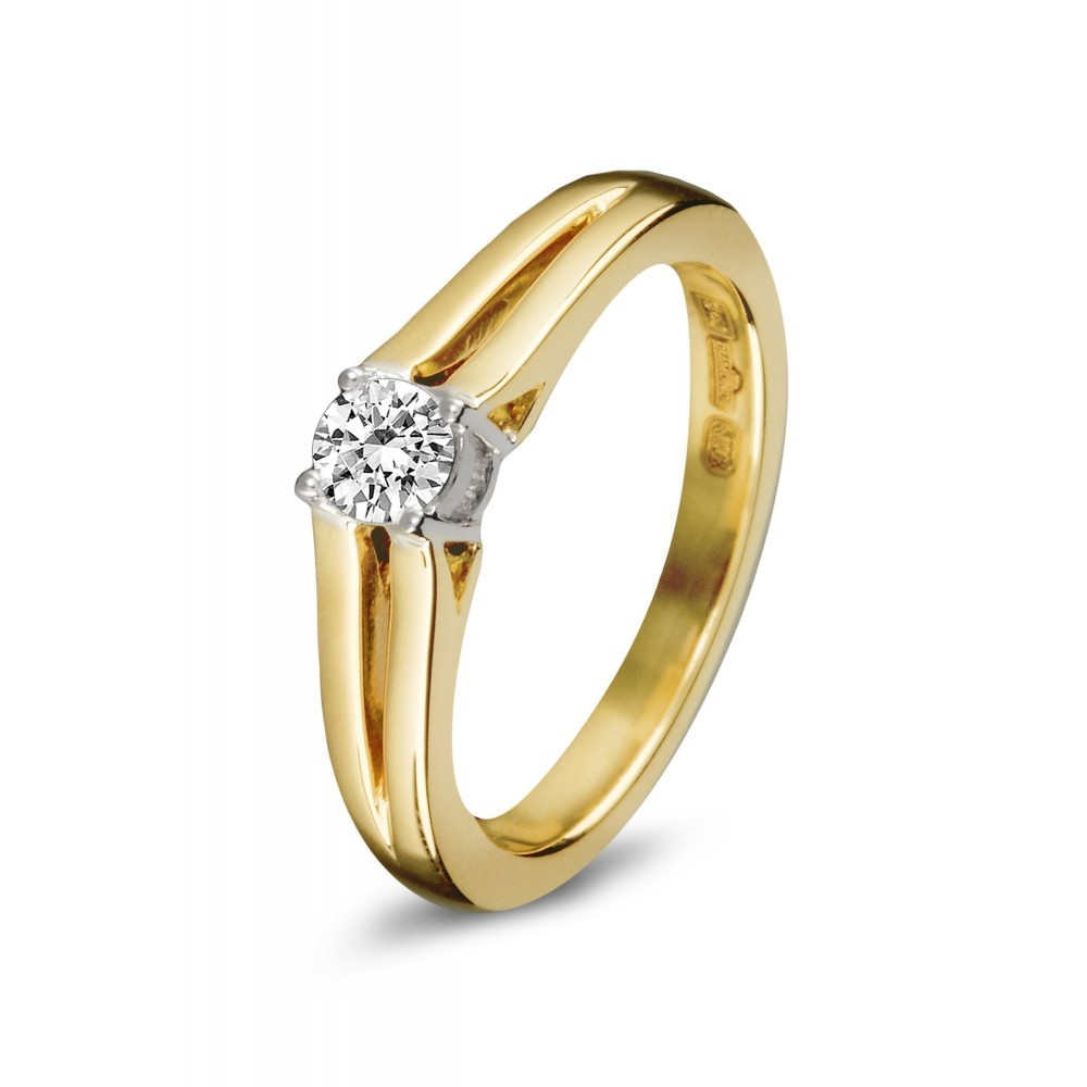 Gouden bicolor ring 0,22crt SOL-M937-020-G2