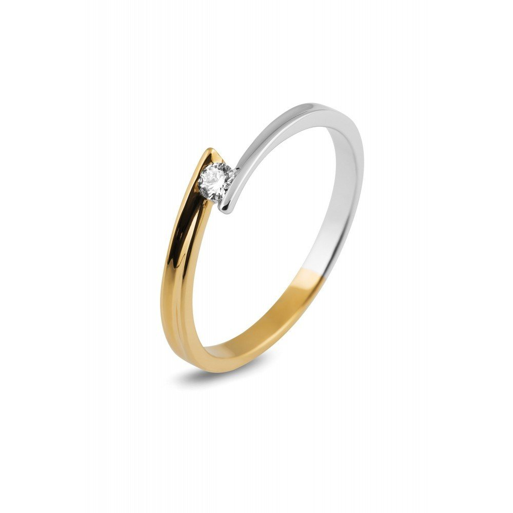 Bicolor ring met diamant SOL-M395-010-G2
