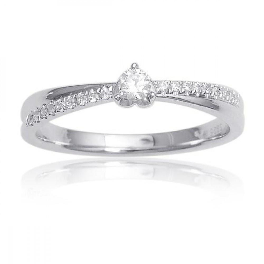 Witgouden damesring met diamant RA4649