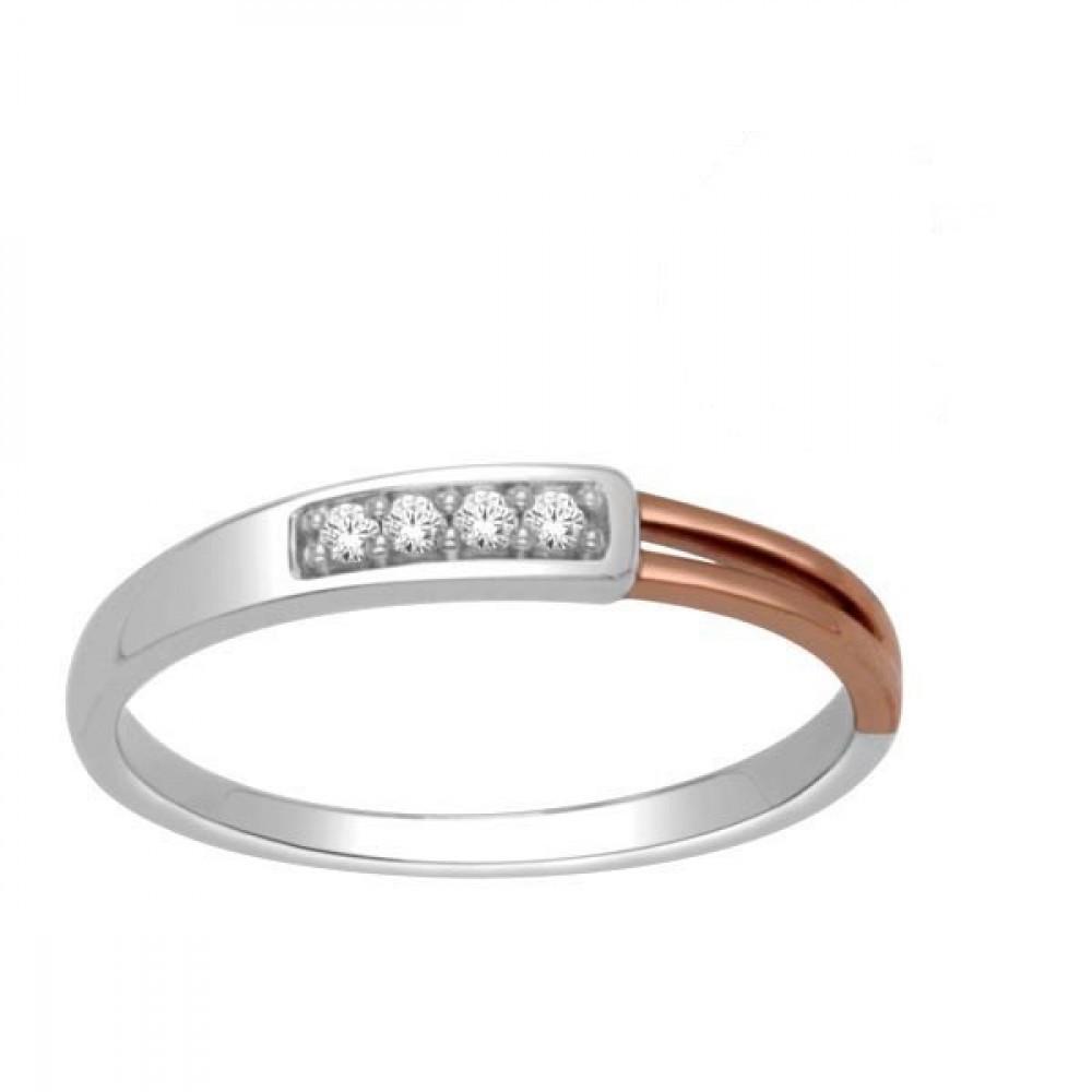 Gouden bicolor damesring met diamant RF11589