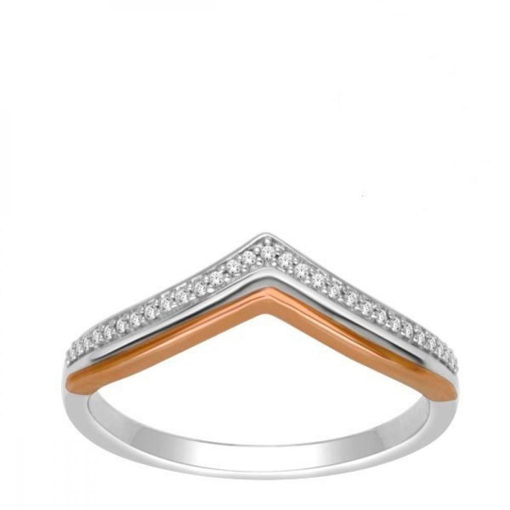 Gouden bicolor damesring met diamant RF11590
