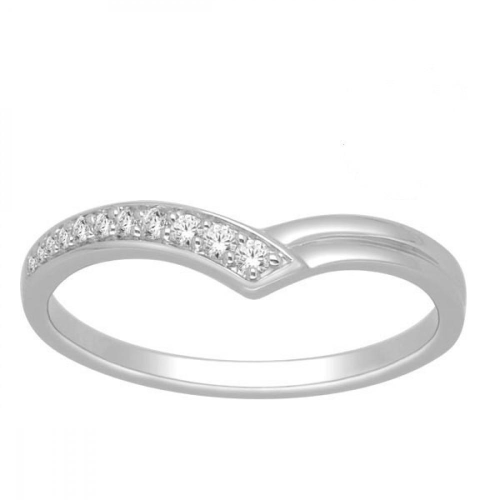 Witgouden damesring met diamant RF11599