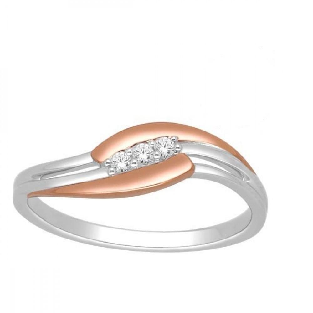Gouden bicolor damesring met diamant RF11601
