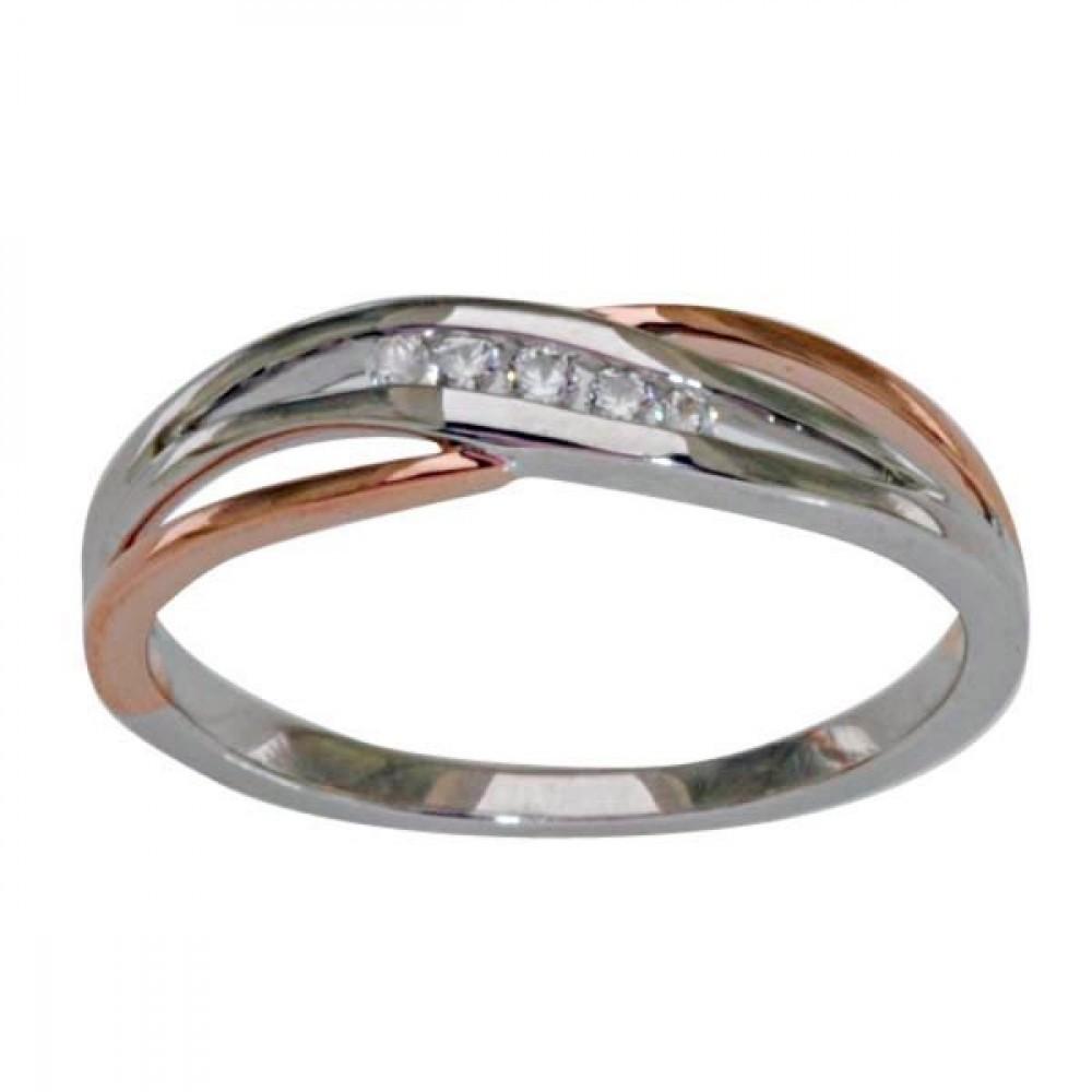 Gouden bicolor damesring met diamant RF11607
