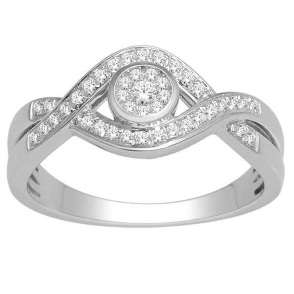 Witgouden damesring met diamant RF8685