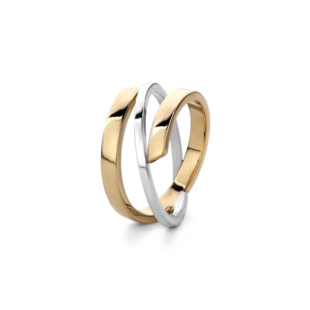 Bicolor gouden damesring A1015P